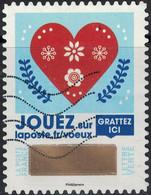 France 2018 Oblitéré Used Timbre à Gratter N° 3 Voeux Coeur Rouge Avec Motifs Floraux - France