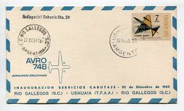TARJETA AVRO 748 AEROLINEAS ARGENTINAS RIO GALLEGO - USHUAIA 1965 RADIOPOSTAL USHUAIA DTO. 24 ARGENTINA VIA AEREA -LILHU - Polar Flights