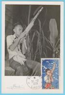 J.M; 25 - Carte Maximum Ou Carte Philatélique - N° 18 - Laos - Instrument à Vent - Musique