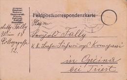 Feldpostkarte Wien Nach K.k. Bahn Sicherungs Kompanie Opcina Bei Triest - 1916 (39622) - 1850-1918 Imperium