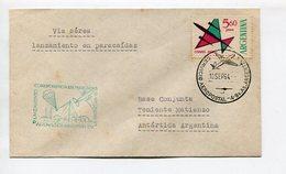 SOBRE VIA AEREA LANZAMIENTO CORRESPONDENCIA EN PARACAIDAS BASE TTE. MATIENZO ANTARTIDA ARGENTINA 1964 CHOPPERS -LILHU - Poolvluchten