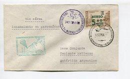 SOBRE VIA AEREA LANZAMIENTO CORRESPONDENCIA EN PARACAIDAS BASE TTE. MATIENZO ANTARTIDA ARGENTINA 1964 CHOPPERS -LILHU - Polar Flights