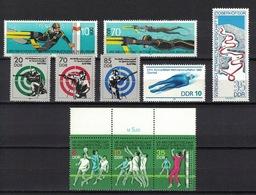 DDR Between 1973 - 1986, Weltmeisterschaft Diving Tauchen Handball Shooting Bobsleigh **, MNH - Briefmarken