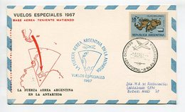 TARJETA VUELOS ESPECIALES 1967 BASE AEREA TTE. MATIENZO FUERZA AEREA ARGENTINA EN LA ANTARTIDA SERVICIO AEROPOSTAL LILHU - Voli Polari