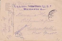 Feldpostkarte K.u.k. Schw. Feldartillerie Rgt. Nr. 8 Batterie 4 Nach Schwanenstadt - 1917 (39625) - 1850-1918 Imperium