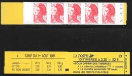 Carnet 2376-C10 Daté 8.8.88 Liberté 2,20 Rouge Conf 8 - Carnets
