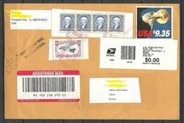 USA 2019 Registered Cover To Estonia Mi 1648 D (1983), Mi 2531 (1994) As 4-stripe, Mi 2976 (1994) - United States