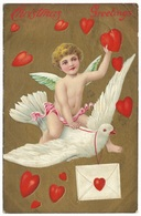 Christmas Greetings Postmark 1910 - Cherub White Dove Red Hearts Letter Embossed - Christmas