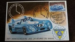CPSM LE MANS 50 EME ANNIVAERSAIRE DES 24 HEURES DU MANS 1 ER JOUR TIMBRE FLAMME 2 JUIN 1973 - Le Mans