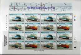 2002 S.Korea - Trains Of Korea (issue III) - Sheetlet Of 4 Sets Of 4 - Paper - MNH** - Korea (Süd-)