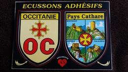 CPM ECUSSONS ADHESIFS OCCITANIE PAYS CATHARE MONTSEGUR LASTOURS QUERIBUS PUILAURENS - France