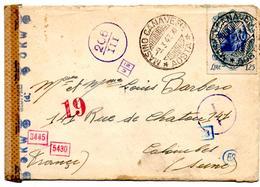 Lettre De Masino Canavese Aosta (09.03.1943) Pour Colombes, Double Censure Posta Estera - Marcophilie