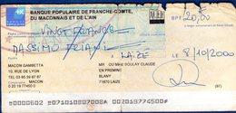 ASSEGNO   20  Franchi Franacesi  Anno 2000  Banque Poupulaire  De Franche -comte Du MACONNAIS ET  L AIN - Assegnati