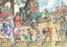 "8 MELUN MARQUE PAGE MARQUE PAGES 5 Marques Pages Puzzle, Bookmark, Signet, Illustrateur CARMONA ""CONTES DE PERRAULTT"" - Segnalibri"