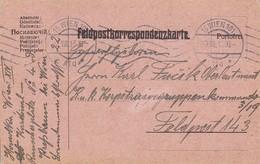 Feldpostkarte Pressbaum Nach K.u.k. Korpstraingruppenkommando 3/19 FP 143  - 1915 (39632) - 1850-1918 Imperium