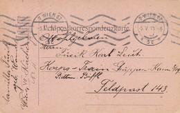 Feldpostkarte Wien Nach K.u.k. Korps-Train-Gruppen-Kommando 3/19 Rittm. Biffl FP 143  - 1915 (39633) - 1850-1918 Imperium