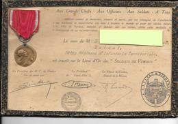 Medaille De Verdun Vernier Avec Son Diplome WW1 Sous Cadre - Frankreich