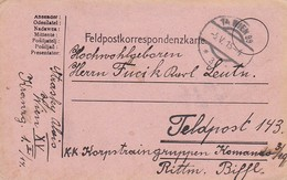 Feldpostkarte Wien Nach K.k. Korpstraingruppen Kommando 3/19 Rittm. Biffl  - 1915 (39638) - 1850-1918 Imperium