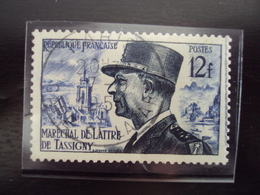 """A Partir De 1945 - Timbre Oblitéré N°  982  """" De Lattre   12 F Bleu    """"    Cote 1.60 Net  0.80          Photo 1 - France"""