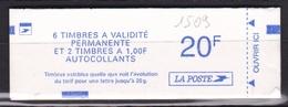 FRANCE Carnet 6 Timbres à Validité Permanente  N° 1509** - Carnets