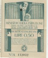 MINISTERO PUBBLICA ISTRUZIONE / Biglietto D'Ingresso Lire 0,50-R.Galleria Degli Uffizi -FIRENZE-1928-CON FASCI (PNF) - Biglietti D'ingresso