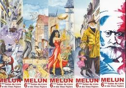 """MARQUE PAGE MARQUE PAGES LOT DE 5 Marques Pages, Bookmark, Signet, Illustrateur CLAUDE COUDRAY """" SALON DU LIVRE DE MELUN - Bookmarks"""