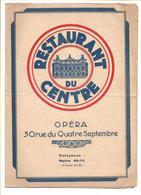 FRANCE -  MENU RESTAURANT DU CENTRE OPERA - C/1929-s - Menus