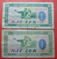 ALBANIA Lot 2 X 1 LEK 1964 AND 1976 - Albanie