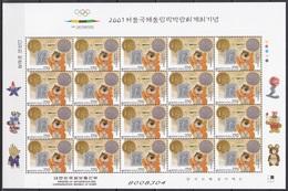 South Korea KPCC1650 International Olympic Fair, Mascot Hodori, Medals, Seoul 2001, Full Sheet - Other