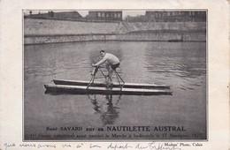 René SAVARD Sur Sa NAUTILETTE AUSTRAL 1er Ayant Traversé La Manche à Hydrocycle Le 12 Nov.1922 - Cyclisme
