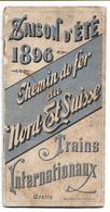 CHEMIN DE FER Du NORD-Est SUISSE - 1896 SAISON D'ETE - TRAINS INTERNATIONAUX - 28 PAGES + CARTE - Ferrovie