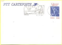 FRANCIA - France - 1986 - 2,50 Liberté + Flamme Cité Natale Du Poète Eustache Deschamps - Carte Postale - Intero Postale - Biglietto Postale