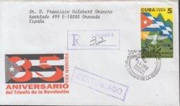 1994-FDC-44 CUBA FDC 1994. REGISTERED COVER TO SPAIN. 35 ANIV TRIUNFO DE LA REVOLUCION - FDC