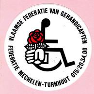 Sticker - Vlaamse Federatie Voor Gehandicapten - Mechelen - Turnhout - 1985 - Stickers