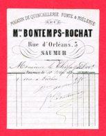 FACTURE (Réf :D749) MAGASIN DE QUINCAILLERIE FONTE & POËLERIE Mme BONTEMPS-ROCHAT SAUMUR - France
