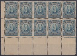 1911-151 CUBA REPUBLICA. 1911. 5c. Ed.192. IGNACIO AGRAMONTE, BLOCK 10 ORIGINAL GUM. - Cuba