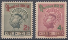 1955-297 CUBA REPUBLICA 1955 Ed.637-38. CHRISTMAS, NAVIDADES, PAVO, TURKEY. MH. - Cuba