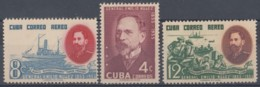 1955-300 CUBA REPUBLICA 1955 Ed.639-41. GENERAL EMILIO NUÑEZ, SHIP. MH- LIGERAS MANCHAS. - Cuba