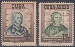 1956-341 CUBA REPUBLICA 1956 Ed.644-45. CENT. SERVICIO POSTAL. CAJIGAL & MORELL. LIGERAS MANCHAS. - Cuba