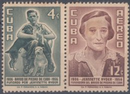 1957-350 CUBA REPUBLICA 1957 Ed.703-04. JEANNETTE RYDER, DOG, PERROS, BANDO DE PIEDAD. LIGERAS MANCHAS. - Cuba