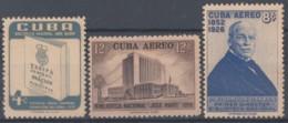 1957-356 CUBA REPUBLICA 1957 Ed.715-17. NATIONAL LIBRARY, BIBLIOTECA NACIONA. LIGERAS MANCHAS. - Cuba