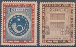 1957-357 CUBA REPUBLICA 1957 Ed.692-93. CLUB FILATELICO, EXPO FILATELICA NAC. LIGERAS MANCHAS. - Cuba