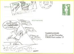 FRANCIA - France - 1992 - 2,10 Marianne Du Bicentenaire + Flamme 1er Mars Fête Des Grand Mères - Carte Postale Illustrée - Entiers Postaux