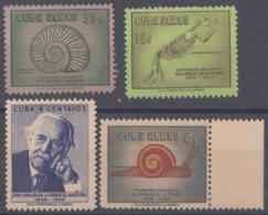 1958-366 CUBA REPUBLICA 1958 Ed.758-61. CARLOS DE LA TORRE, DINOSAUR, PALEONTOLOGY. MANCHAS. - Cuba