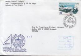 1998-FDC-45 CUBA FDC 1998. REGISTERED COVER TO SPAIN. 40 ANIV POLICIA NACIONA, MOTO, POLICE. - FDC