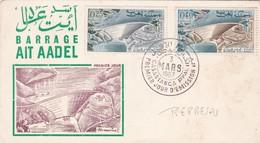 BARRAGE  AIT AADEL-FDC CAIRO 1967 CASABLANCA, MOROCO. 2 COLOR STAMPS - BLEUP - Morocco (1956-...)