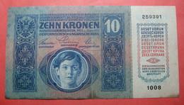 AUSTRIA 10 KRONEN 1915, Serial Number: 259391 - 1008 - Autriche