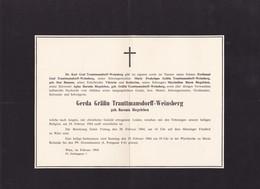 WIEN VIENNE Gerda Grafïn TRAUTTMANSDORFF-WEINSBERG Geb. Baronin BIEGELEBEN 1964 Format A4 - Obituary Notices