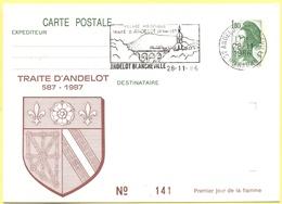 FRANCIA - France - 1986 - 1,80 Liberté De Gandon + Flamme Traité D'Andelot - Carte Postale Illustrée - Intero Postale - - Biglietto Postale