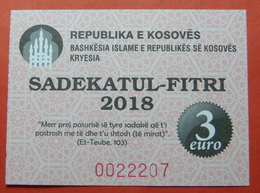 US PROTECTORATE, ISLAMIC STATE OF KOSOVO, 3 EURO 2018 SADAKA RAMADAN BON - Stati Uniti